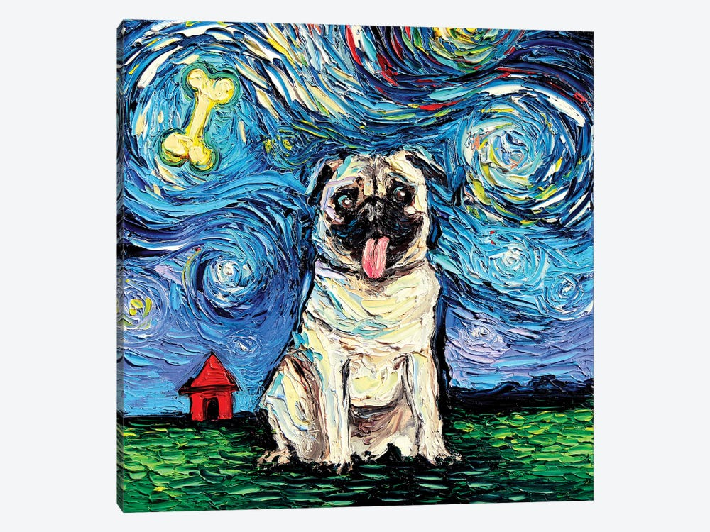 Starry Pug by Aja Trier 1-piece Canvas Print