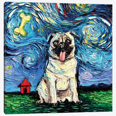 Starry Pug Canvas Print #AJT62} by Aja Trier Canvas Art Print