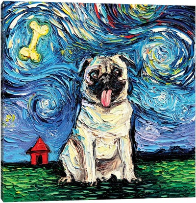 Starry Pug Canvas Art Print