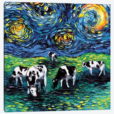 Starry Starry Pasture 3-Piece Canvas #AJT64} by Aja Trier Canvas Artwork