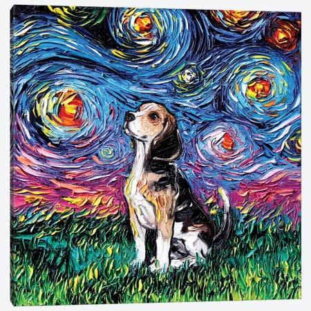 Beagle Night Canvas Print #AJT6} by Aja Trier Canvas Artwork