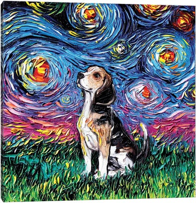 Beagle Night Canvas Art Print