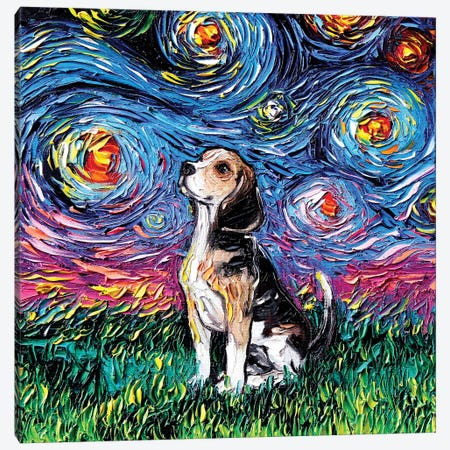 Beagle Night Canvas Print #AJT6} by Aja Trier Canvas Artwork