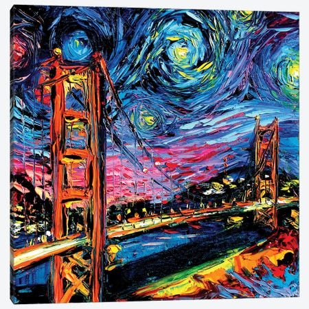 Van Gogh Never Saw Golden Gate Canvas Print #AJT71} by Aja Trier Canvas Artwork