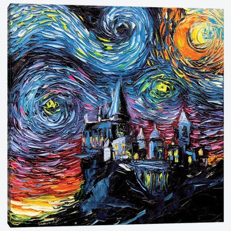 Van Gogh Never Saw Hogwarts 3-Piece Canvas #AJT72} by Aja Trier Canvas Wall Art