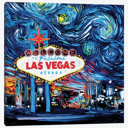 Van Gogh Never Saw Vegas Canvas Print #AJT78} by Aja Trier Canvas Artwork