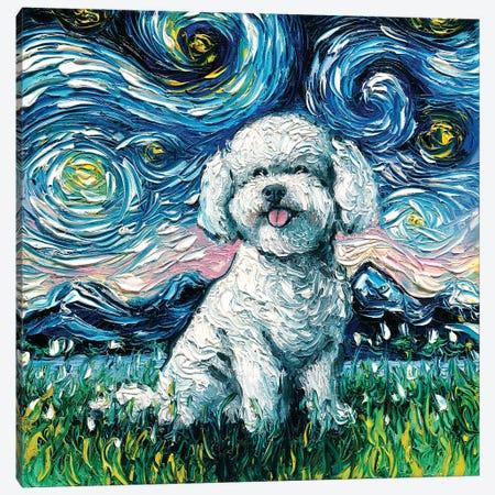 Bichon Frise Night Canvas Print #AJT7} by Aja Trier Canvas Wall Art