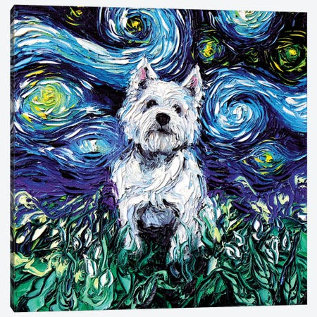 Westie Night Canvas Print #AJT82} by Aja Trier Canvas Print
