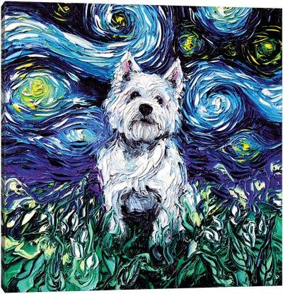 Westie Night Canvas Art Print