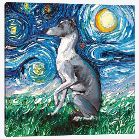 Whippet Night Canvas Print #AJT84} by Aja Trier Canvas Wall Art