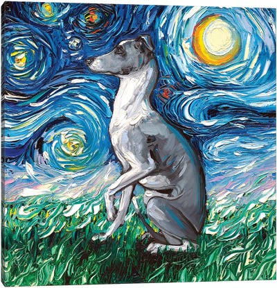 Whippet Night Canvas Art Print