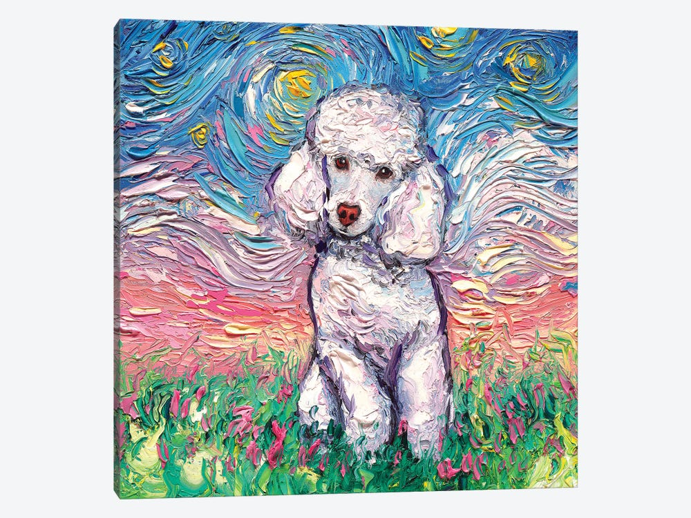 White Poodle Night by Aja Trier 1-piece Canvas Art