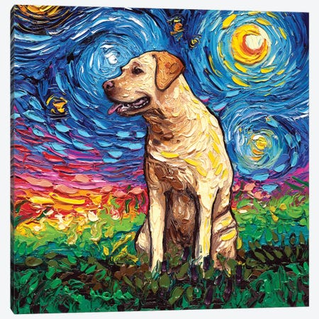 Yellow Labrador Night II Canvas Print #AJT86} by Aja Trier Canvas Artwork