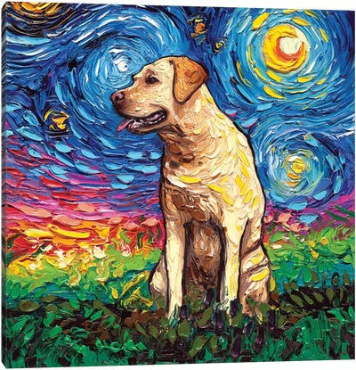 Yellow Labrador Night II Canvas Art Print