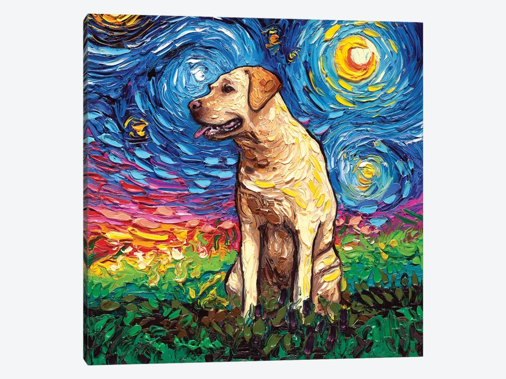 Yellow Labrador Night II by Aja Trier 1-piece Canvas Print