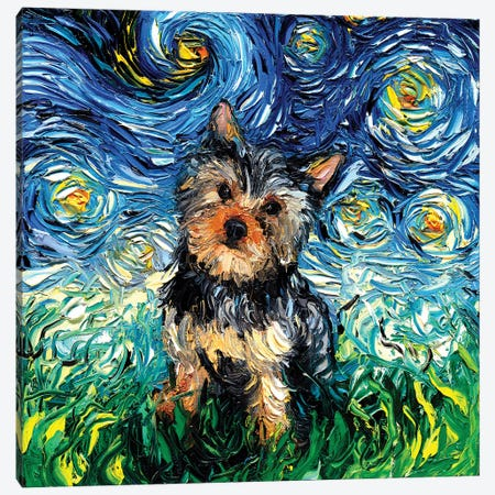 Yorkie Night Canvas Print #AJT87} by Aja Trier Canvas Art