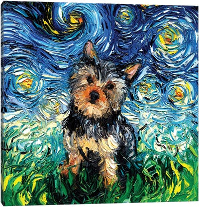 Yorkie Night Canvas Art Print