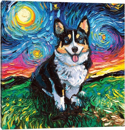 Tri-Color Corgi Night Canvas Art Print
