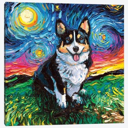 Tri-Color Corgi Night Canvas Print #AJT88} by Aja Trier Canvas Art Print