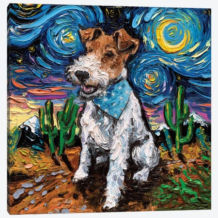 Wire Fox Terrier Night Canvas Print #AJT89} by Aja Trier Canvas Print