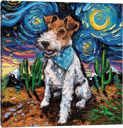 Wire Fox Terrier Night Canvas Art Print