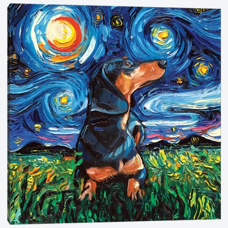 Black And Tan Dachshund Night Canvas Print #AJT8} by Aja Trier Canvas Art Print