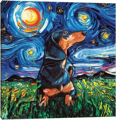Black And Tan Dachshund Night Canvas Art Print