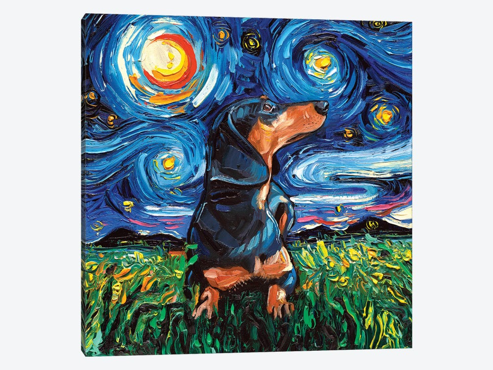 Black And Tan Dachshund Night by Aja Trier 1-piece Canvas Print