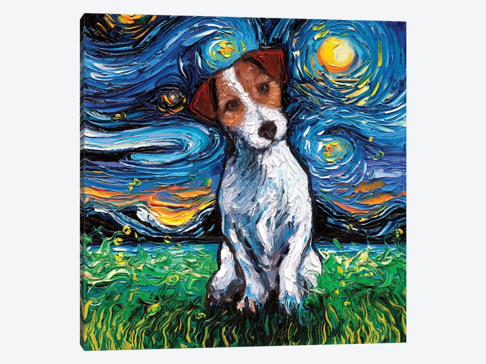 Jack Russel Terrier Night by Aja Trier 1-piece Canvas Wall Art