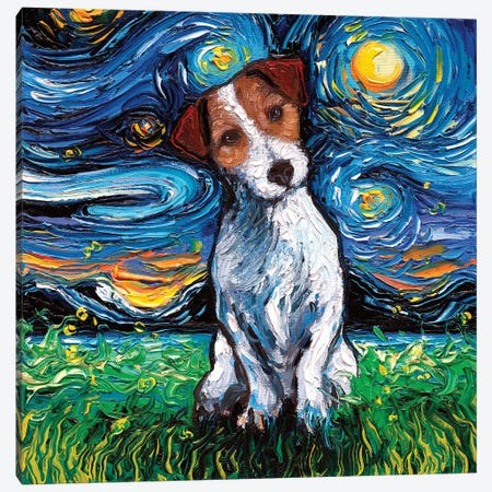 Jack Russel Terrier Night Canvas Print #AJT90} by Aja Trier Canvas Art