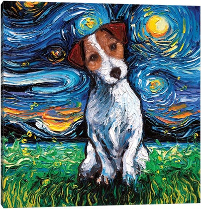 Jack Russel Terrier Night Canvas Art Print