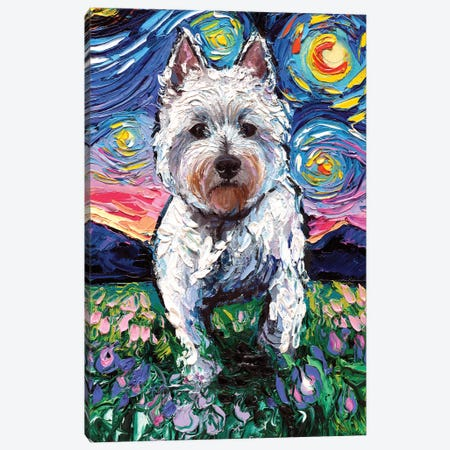 Westie Night II Canvas Print #AJT91} by Aja Trier Canvas Wall Art