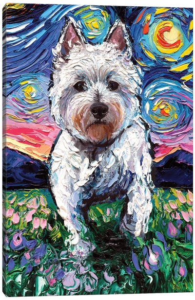Westie Night II Canvas Art Print