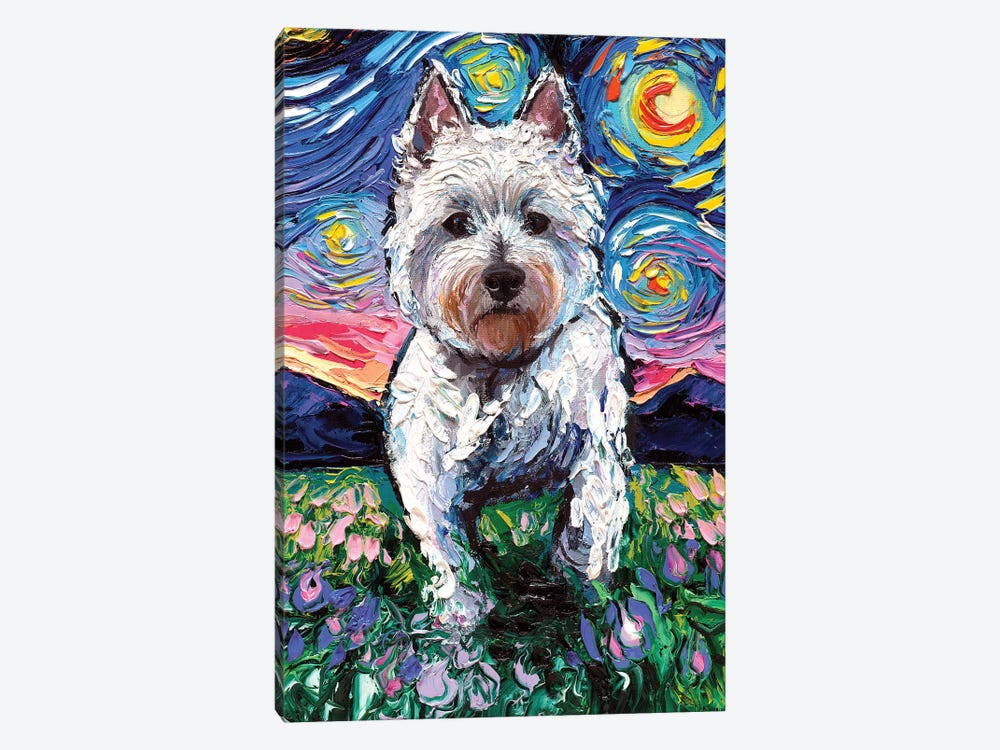 Westie Night II by Aja Trier 1-piece Art Print
