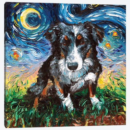Australian Shepherd Night Canvas Print #AJT92} by Aja Trier Canvas Art