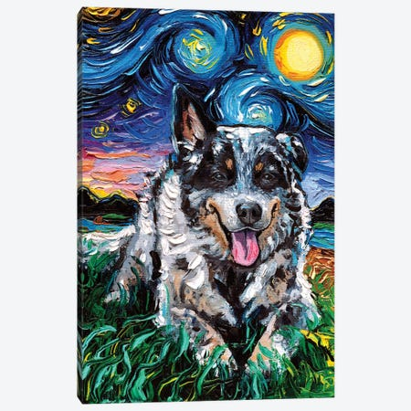 Australian Cattle Dog Night Canvas Print #AJT93} by Aja Trier Canvas Art
