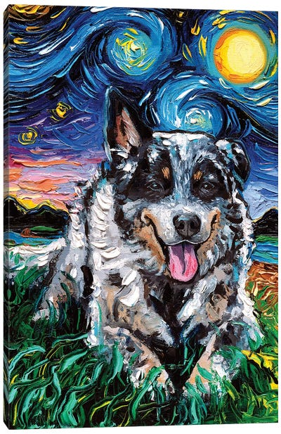 Australian Cattle Dog Night Canvas Art Print