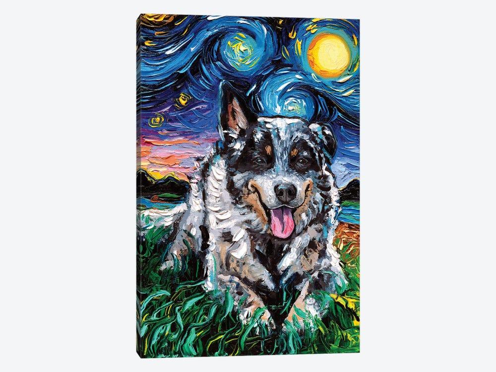 Australian Cattle Dog Night by Aja Trier 1-piece Canvas Art Print