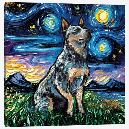 Blue Heeler Night Canvas Print #AJT94} by Aja Trier Canvas Print