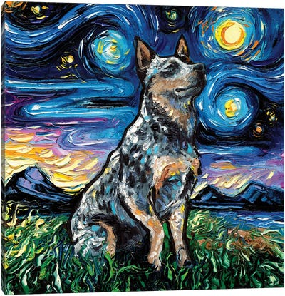 Blue Heeler Night Canvas Art Print