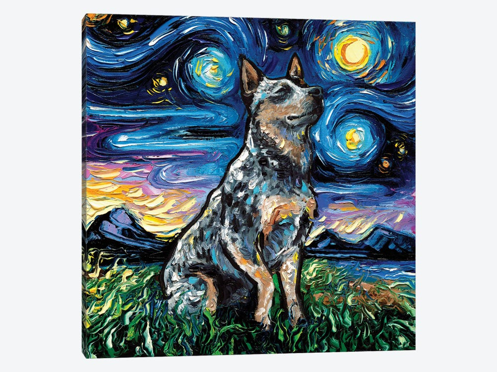 Blue Heeler Night by Aja Trier 1-piece Canvas Wall Art
