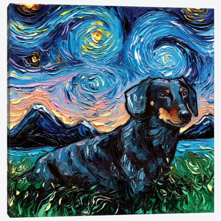 Black And Tan Dachshund Night III Canvas Print #AJT98} by Aja Trier Canvas Art