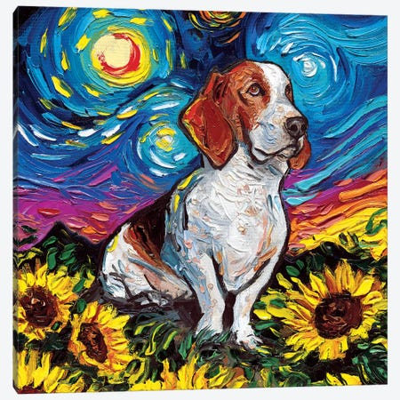 Basset Hound Night II Canvas Print #AJT99} by Aja Trier Canvas Wall Art