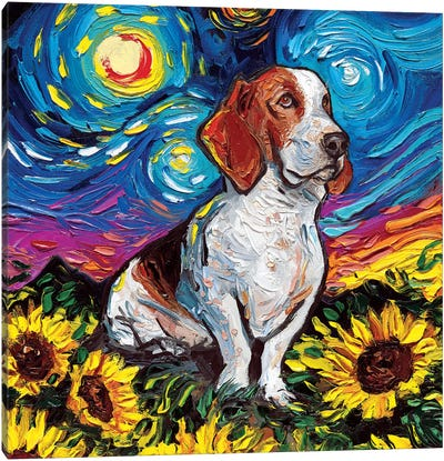 Basset Hound Night II Canvas Art Print