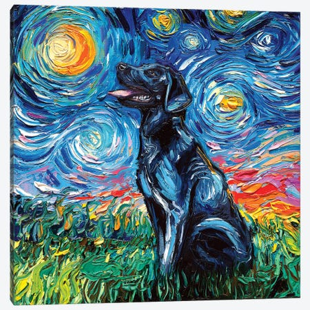 Black Labrador Night I Canvas Print #AJT9} by Aja Trier Canvas Art Print