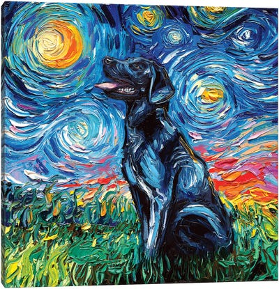 Black Labrador Night I Canvas Art Print