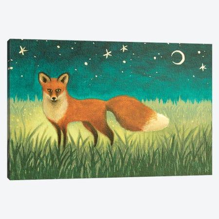 Night Fox Canvas Print #AKE18} by Antoinette Kelly Canvas Wall Art