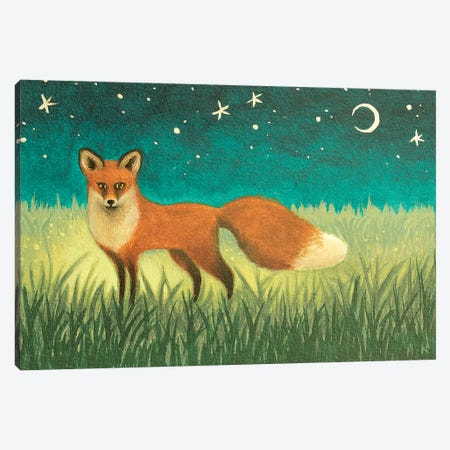 Night Fox Canvas Print #AKE18} by Antoinette Kelly Canvas Wall Art