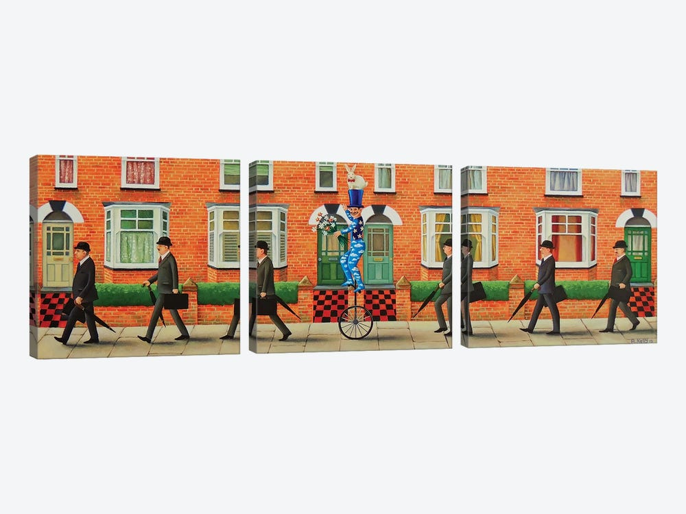 Off To Work! by Antoinette Kelly 3-piece Canvas Art Print