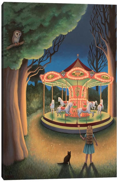 Nightime Carousel Canvas Art Print